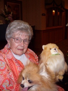 Pet Visit-Southview Senior Living-Holding the two dogs